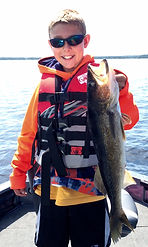 "Zack with a catch-of-a-life time, 27"" walleye"