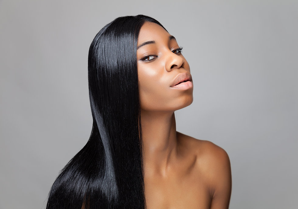 Young black beauty with long straight ha