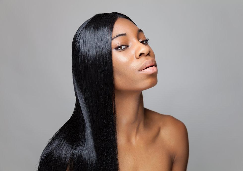 The Hair Site Model with long straight Virgin hair