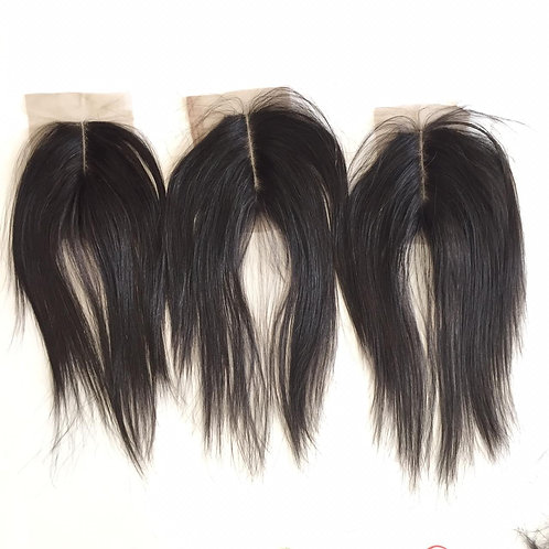 "Raw Straight Closures (double drawn) 2"" by 4"""