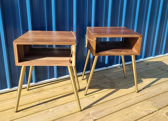 Mid Century Modern Walnut end table set