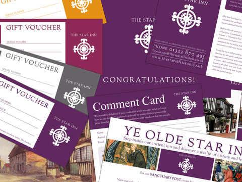 Gift vouchers, postcards and leaflets for The Star Inn in Alfriston