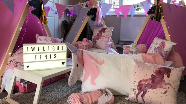 Unicorn Theme Sleepover Set up in a clients home