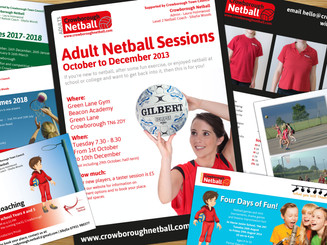 Postcards, posters and flyers for Crowborough Netball
