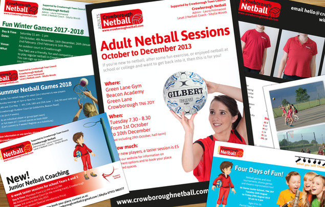 Various print materials for Crowborough Netball