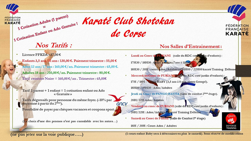 Tarifs et planning karate clb shotokan d