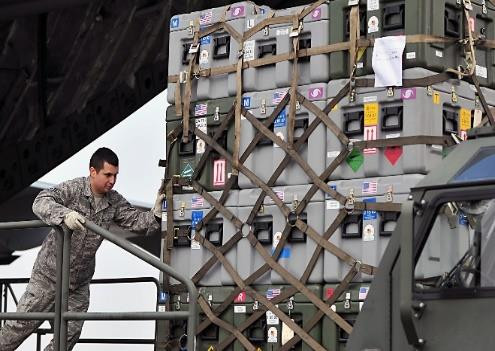 A cargo net being used by the US military