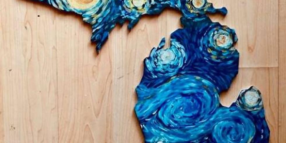 """Starry Night Lake Michigan Wood Cut Out 18"""""""