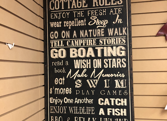 Cottage Rules Wooden Sign