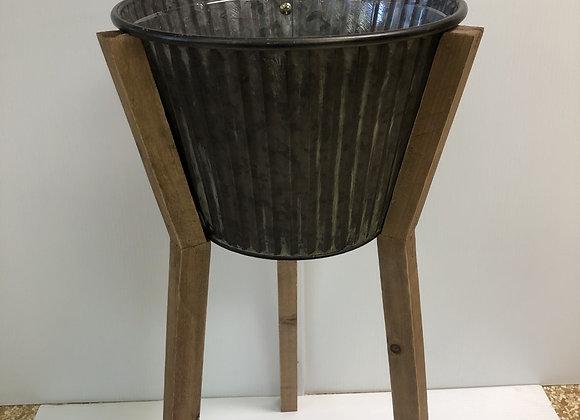 Metal Pot with Wooden Legs