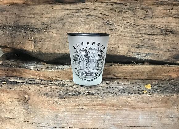 Savannah Line Art Frosted Shot Glass