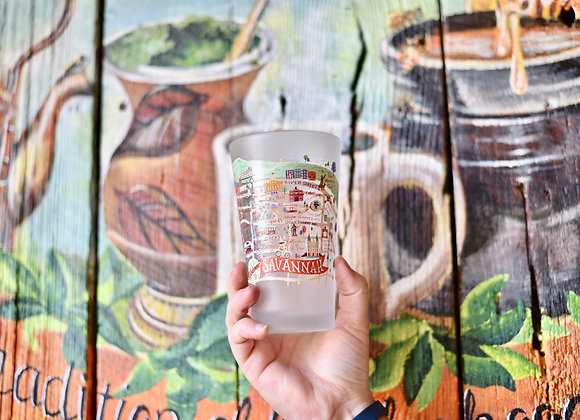 Map Frosted Pint Glass