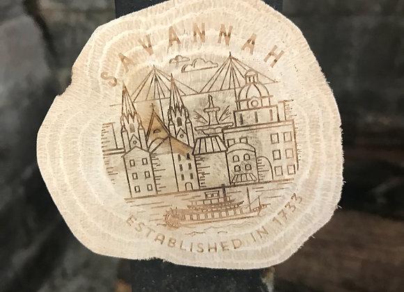 Savannah Line Art Wooden Magnet