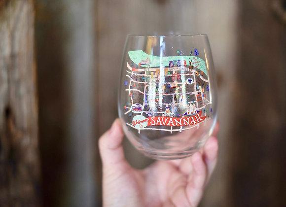 Map Stemless Wine Glass