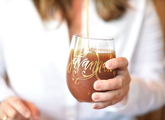 Gold Foil Stemless Wine Glass
