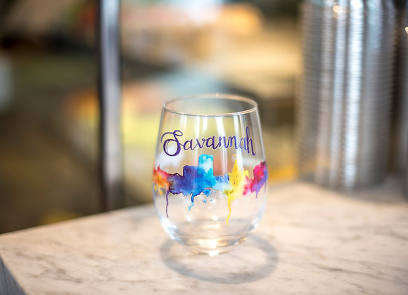 Watercolor Stemless Wine Glass