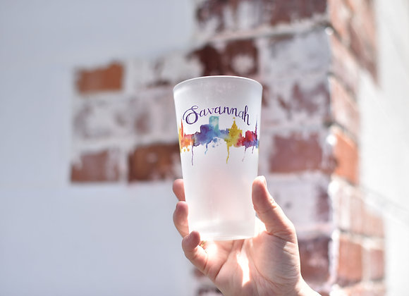 Watercolor Frosted Pint Glass
