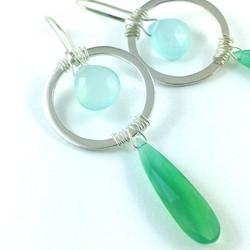 Circle drop gemstone earrings