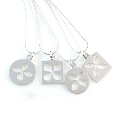 Silver flower necklaces