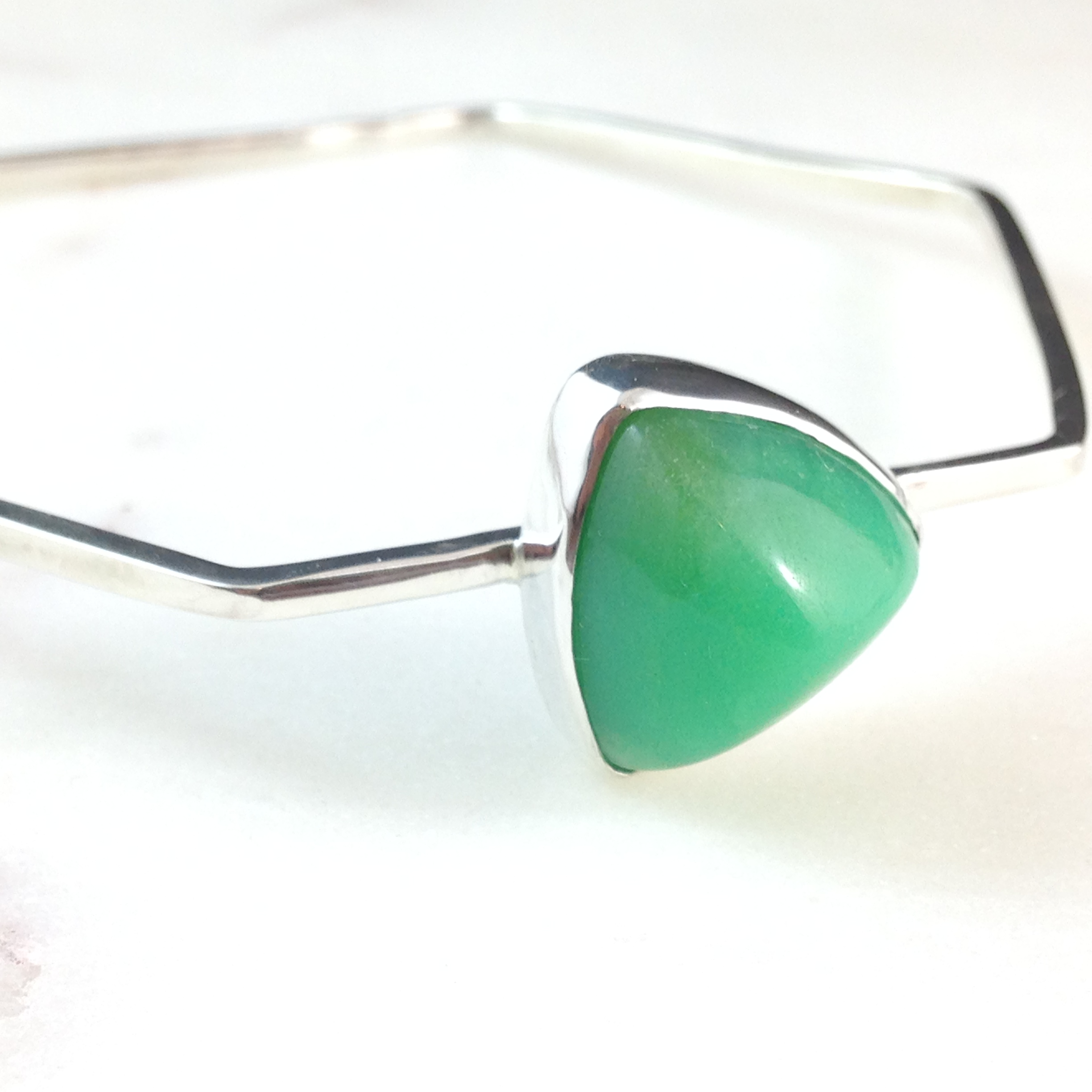 Silver and chrysoprase bangle