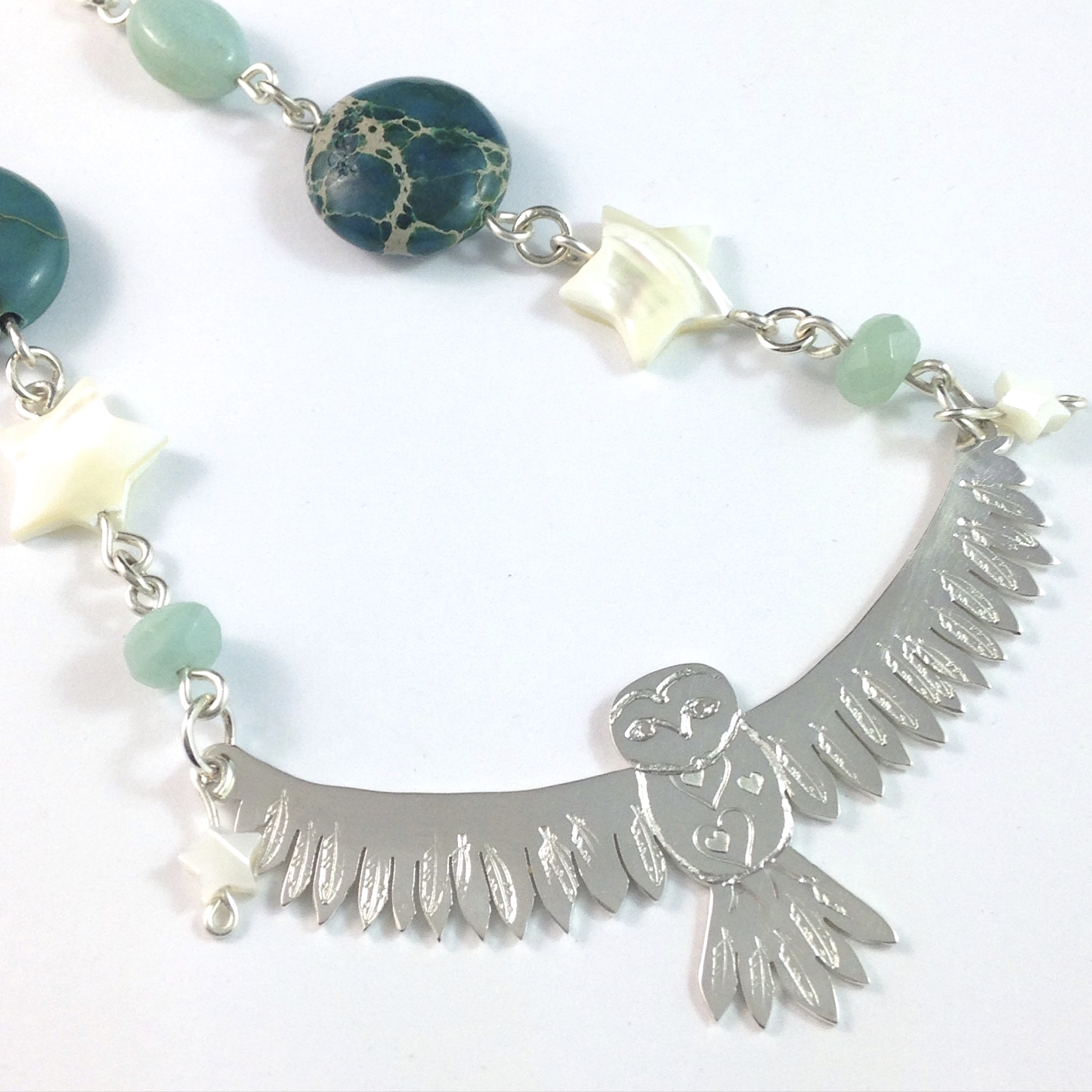 Silver flying owl necklace