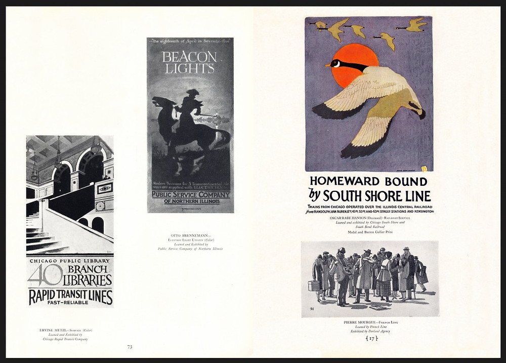 Pages from 1928 and 1927 Art Directors Club annuals.