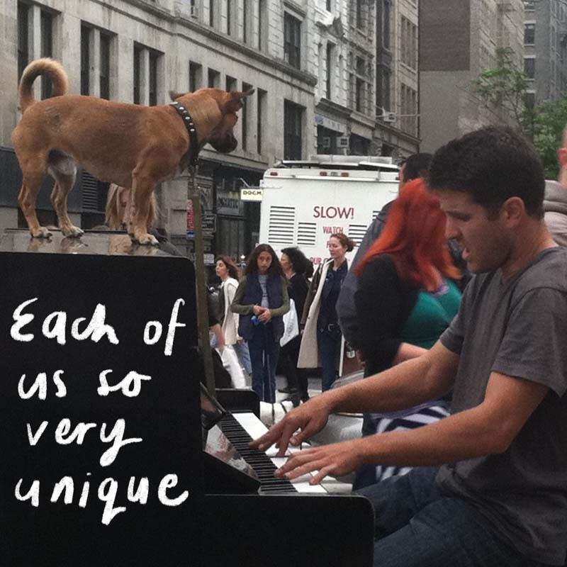 Piano player and dog in the Financial District