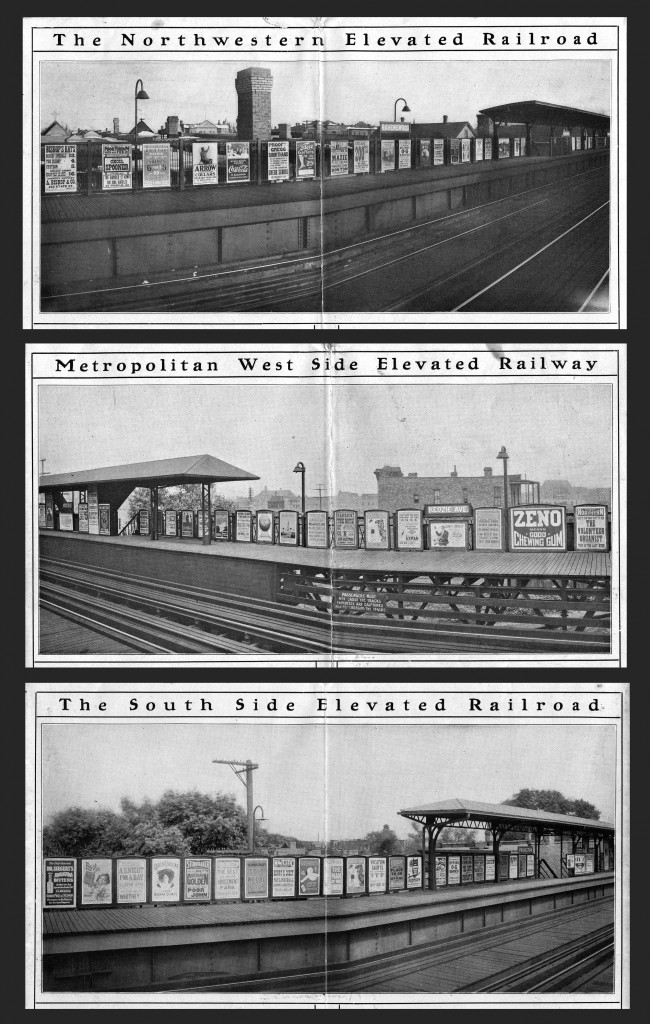 The four sets of photographs below show how the Insull Transit posters were mounted on-site. By enlarging shots like these, I've been able to discover posters not found anywhere else. The detail in these pictures is truly remarkable.
