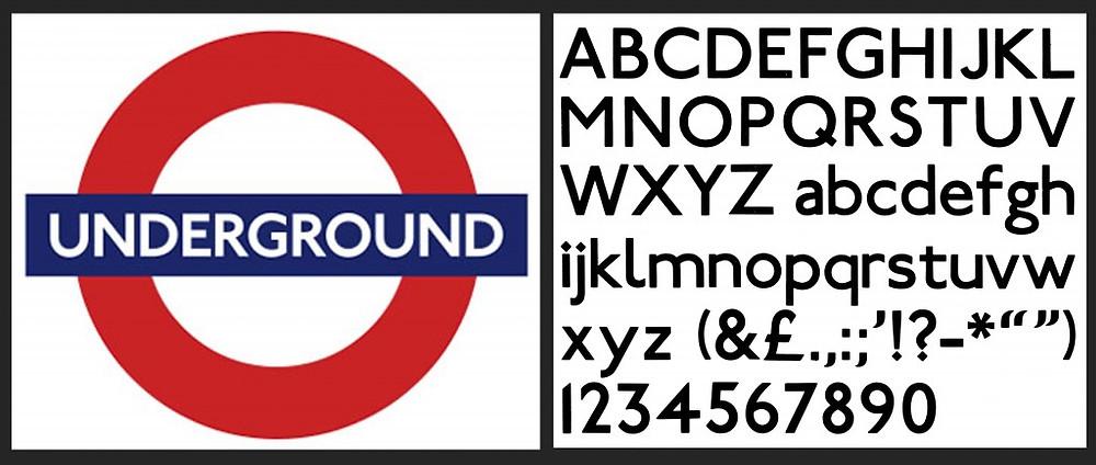 "Two classic graphic creations: Edward Johnston's LU ""Roundel"" logo and his ""Johnston Underground"" typeface."