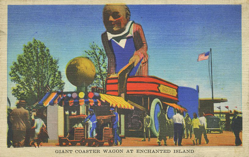 "the giant Radio-Flyer wagon on the children's amusement park ""Enchanted Island""."