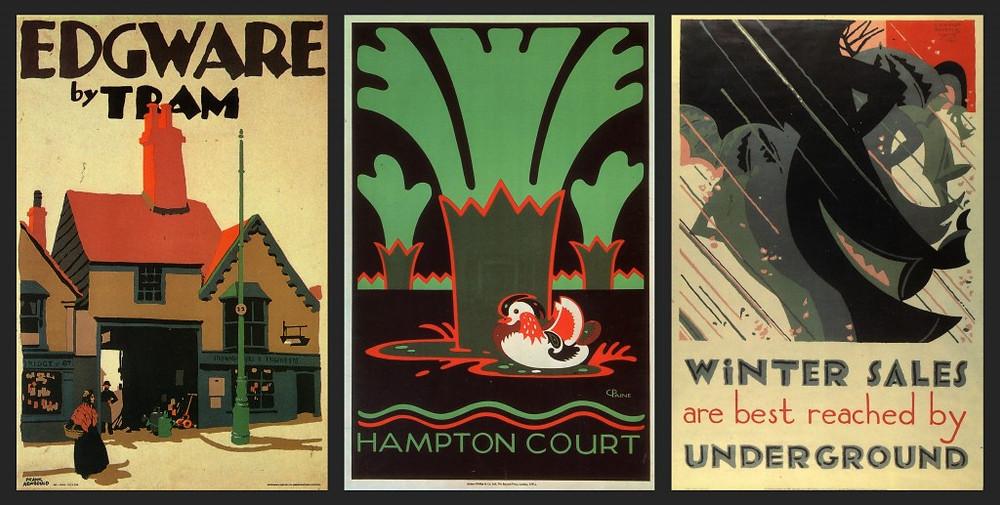 Frank Newbould 1929, C. Paine 1921, E. McKnight Kauffer 1921