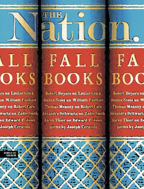 """A lovely execution for the """"Fall Books"""" cover of The Nation"""
