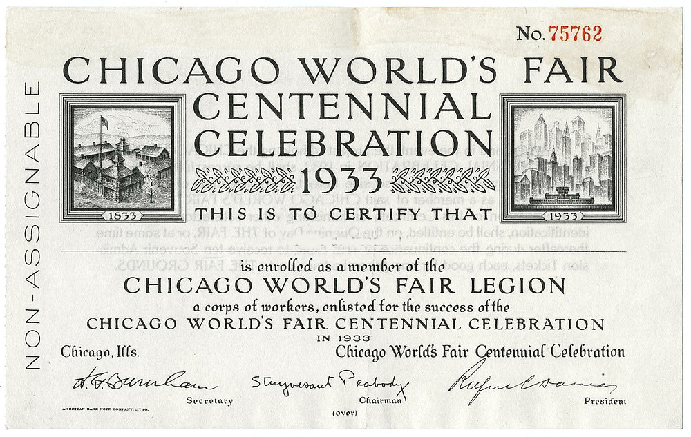 Chicago World's Fair Legion certificate.