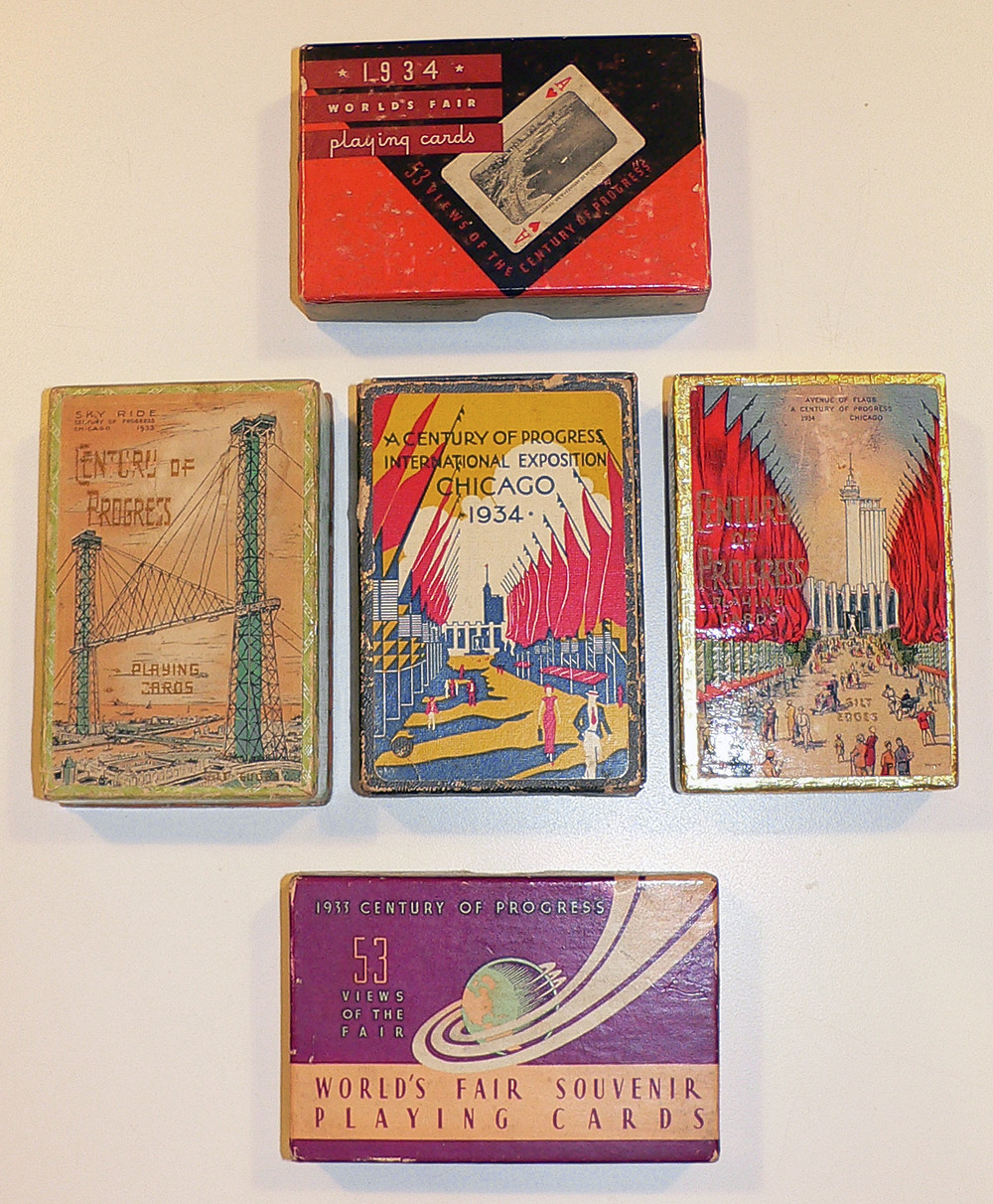 Assorted playing cards. Most card sets included pictures/scenes of the fair on each and every card.