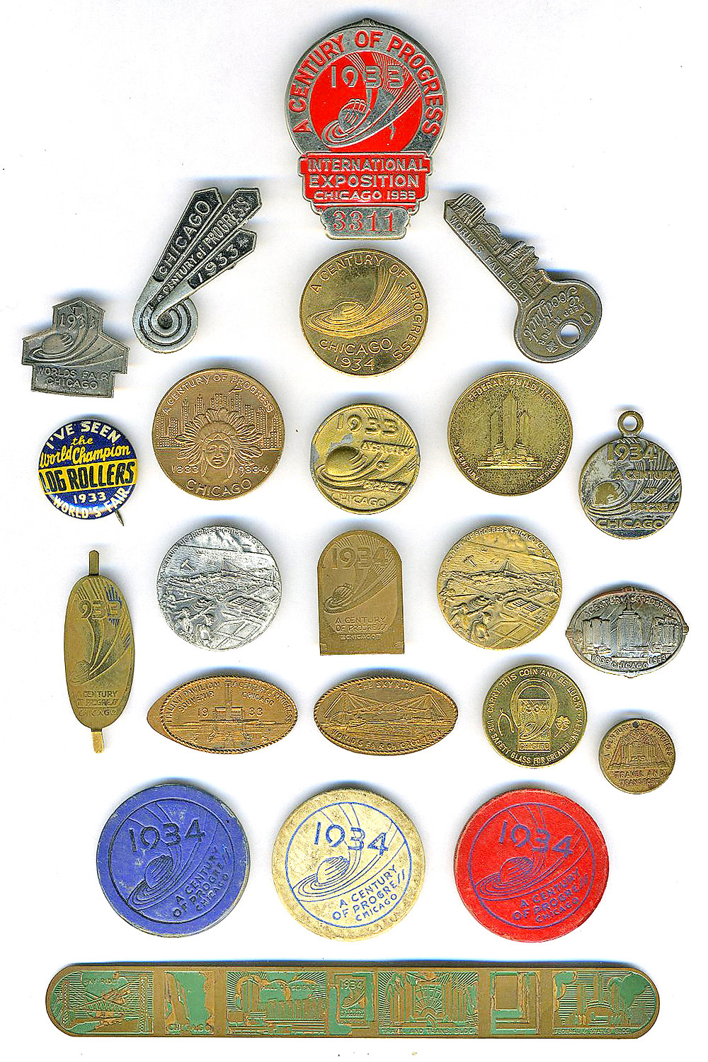 Assorted tokens, medallions, pins, etc. . .