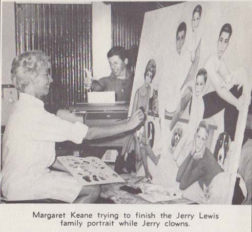 Margaret Keane trying to finish the Jerry Lewis family portrait while Jerry clowns