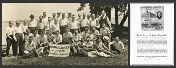 1920's Edwards & Deutsch Lithographing Co. picnic photo (Nice squeeze-box !). E&D was one of the firms in Chicago chosen as lithographers for the posters along with National Printing & Engraving Co., Illinois Lithographing Co., and Gugler Lithographing Co.