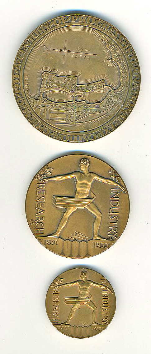 Emil Robert Zettler designed the bronze Official Century Of Progress Medal. It was offered in three sizes – 2 3/4″, 2 1/4″, 1 1/2″.