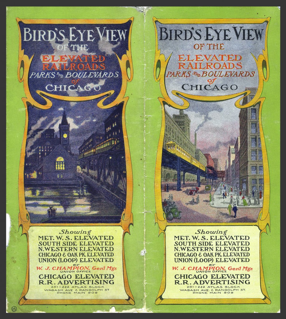 A brochure from the 1910's era prior to Insull's poster program showing the extensive use (see below) of poster advertising along the elevated system.