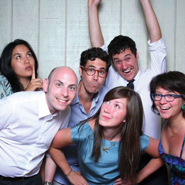From left to right: Jillian Tamaki, Neil Swaab, Christopher Silas Neal, Jessica Hische, Sam Weber, and Jennifer Daniel in 2010. Photograph courtesy Jessica Hische