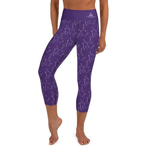 Purple Capri Leggings with Pilates Apparatus Graphic Print