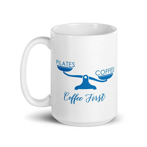 Coffee Before Pilates : Mug with Scale and Pilates Graphics : Blue