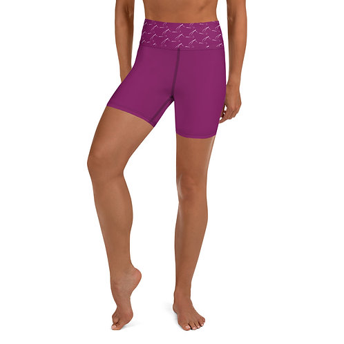 Magenta Pilates Yoga Shorts with Pilates Graphic Print Waistband