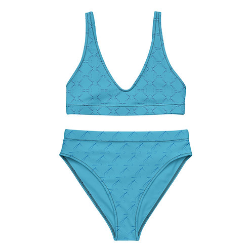 Blue Recycled High-waisted Bikini with Pilates Short Spine Exercise Graphic