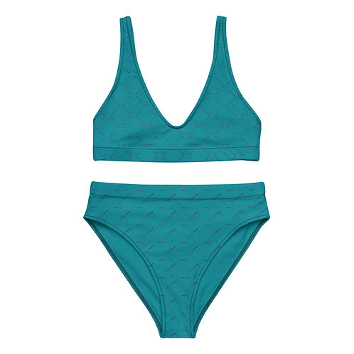 Teal Recycled high-waisted bikini with Pilates Short Spine Exercise Print
