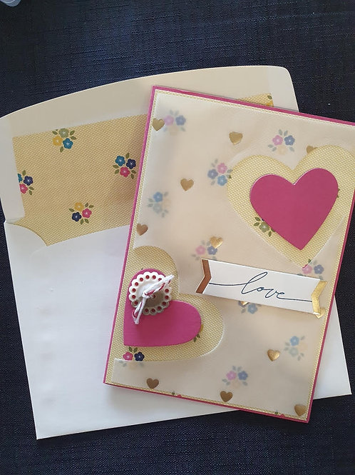 Pink and Yellow Floral Love Card