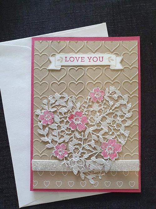 Pink & White Filigree Heart