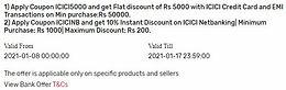 Coupon Code for Tata Cliq ICICI
