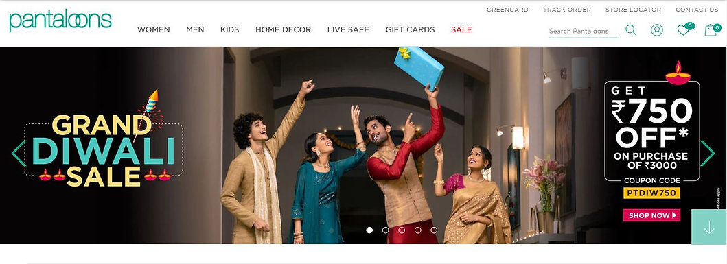 Pantaloons Grand Diwali Sale Get INR 750 OFF on shopping for INR 3000