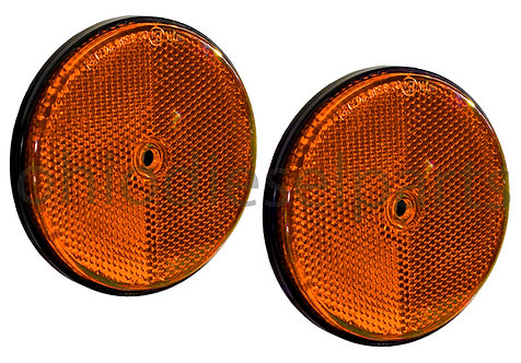 3-1/2 Inch Tractor Trailer Round Amber Reflector Stud-Mounted S.8896 2-Pack